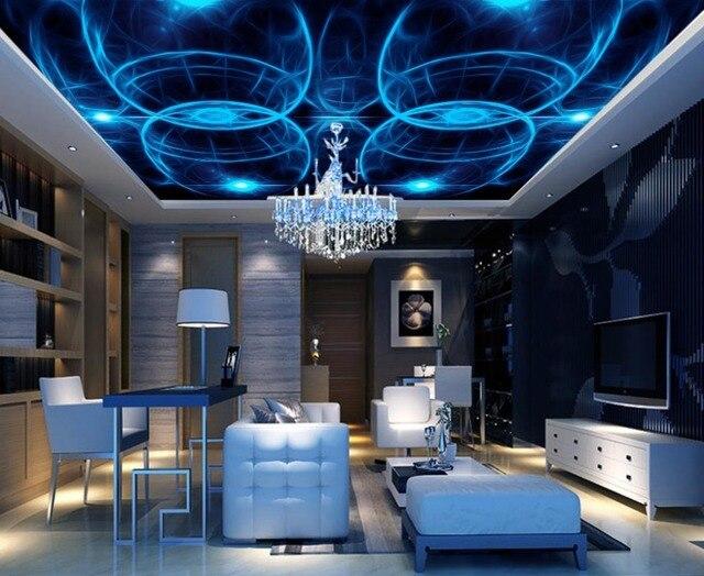 Kundenspezifische 3d Decke Tapete Blau Wandbilder Mode KTV Bar ...