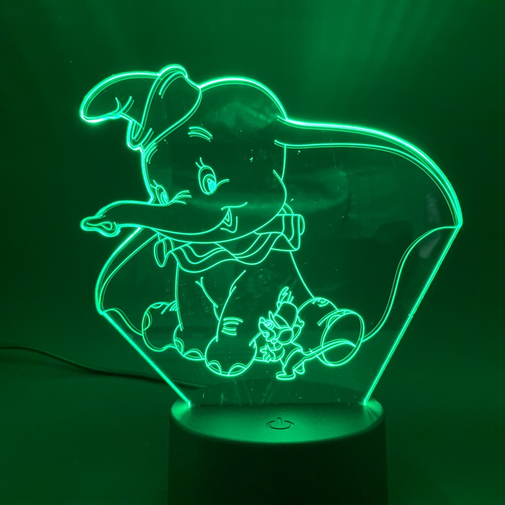 3D LED Night Light Lamp Dumbo Cute Baby Nightlight Color Changing Indoor Decoration Kids Girl Boys Child Gift 3d Lamp Elephant in LED Night Lights from Lights Lighting