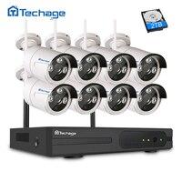 Techage 2MP CCTV System 1080P 8ch HD Wireless NVR Kit Outdoor IR Night Vision 8pcs IP