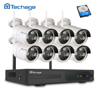 Techage 2MP CCTV System 1080P 8ch HD Wireless NVR Kit Outdoor IR Night Vision 8pcs IP