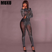 MUXU sexy black bodysuit women jumpsuit europe and the united states jumpsuits rompers transparent long sleeve body bodysuits