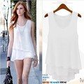 2015 new summer dress all-match loose false two candy color sleeveless chiffon shirt vest spot