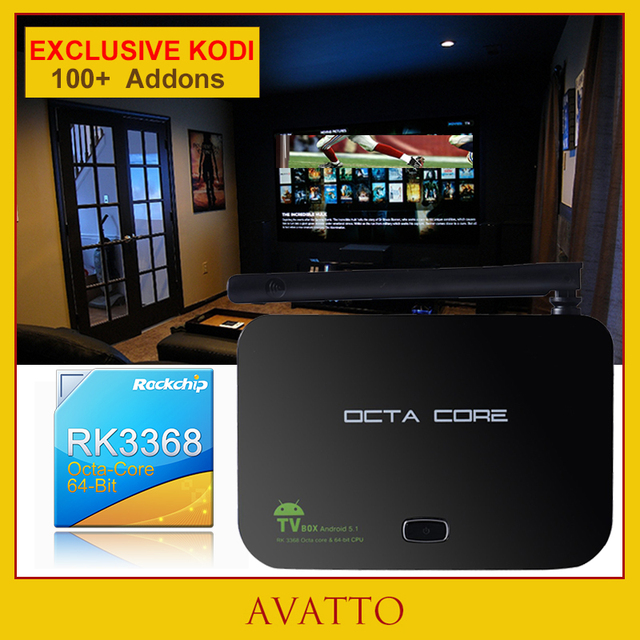 [Avatto] personalizado Kodi 16.1 Totalmente Carregado 2 GB/16 GB Caixa Smart TV Android 5.1 Octa Núcleo RK3368 HDIM Z4, 5G-Wifi, BT, 4 K Set Top Box