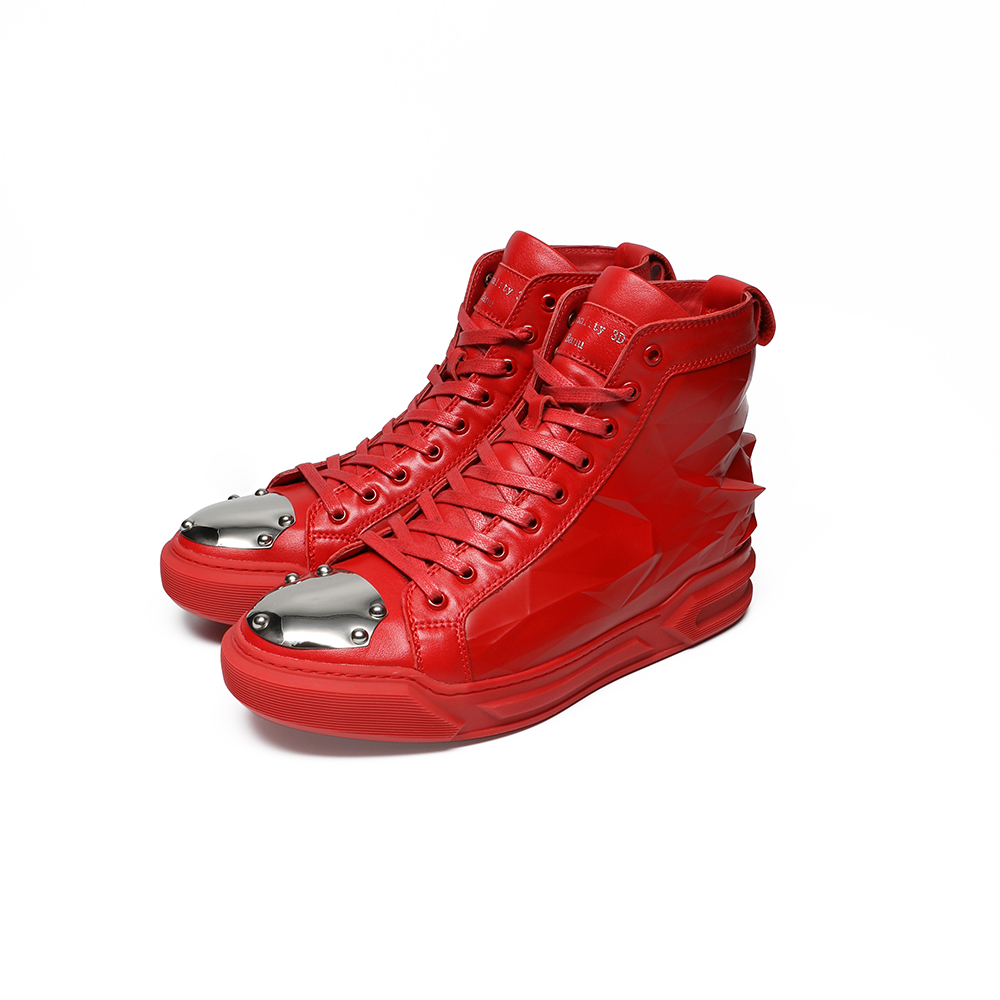 цены  3D Printing Men Casual Shoes High-top Real Leather Lace-up Original Brand Cool Comfortable Fashion Sport Autumn Winter Red Shoes