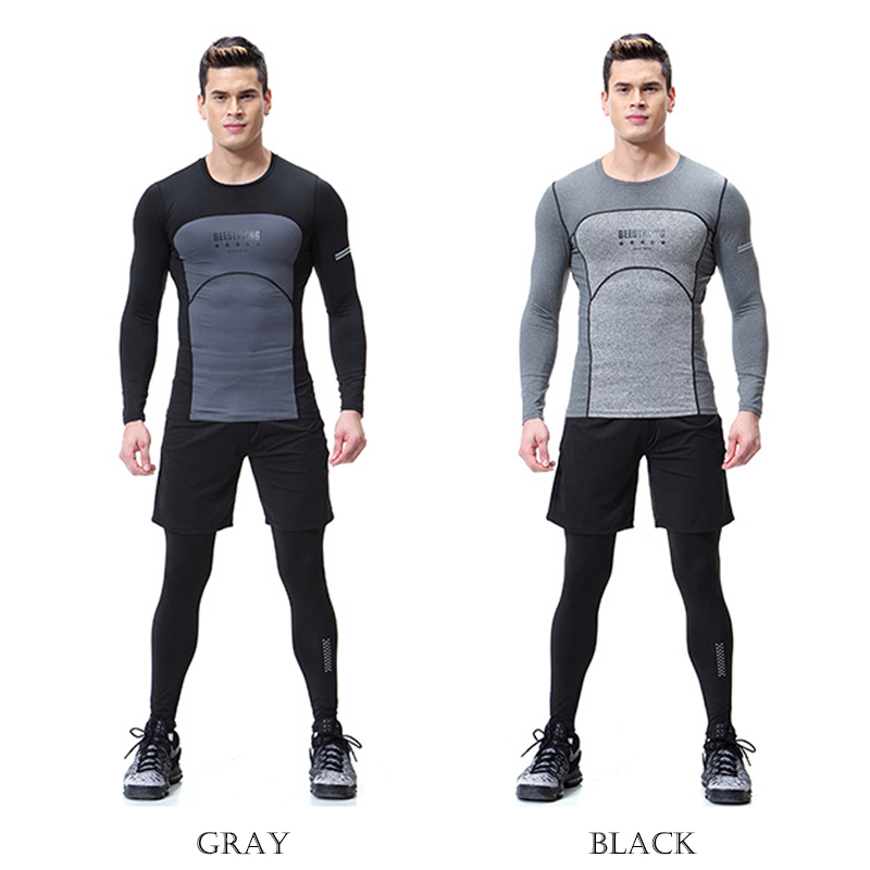 3 en 1 ensemble hommes Fitness Sportswear Compression collants Fitness entraînement sport Jogging costumes ensemble #1652