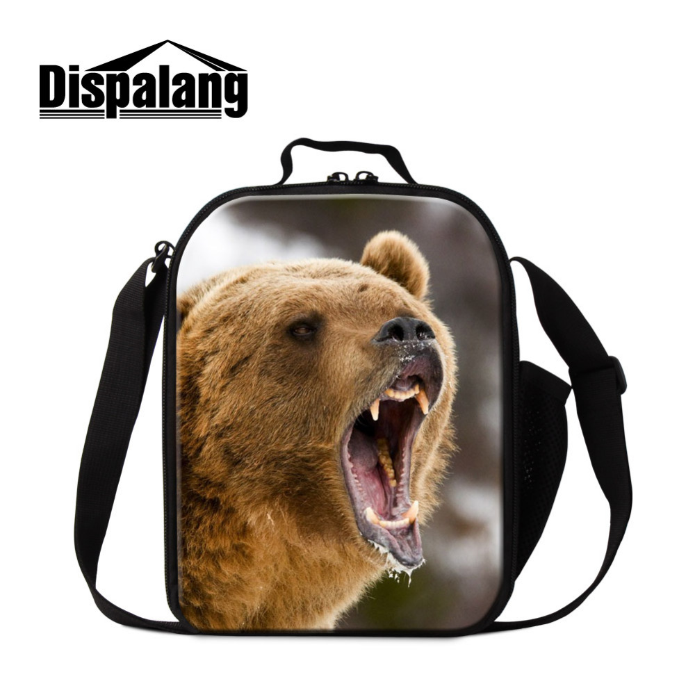 Dispalang Portable Animal Print Cooler Bag Kids Lunch Bag Casual Picnic Packet Brown bear Bento Box Food Thermal Bag For School