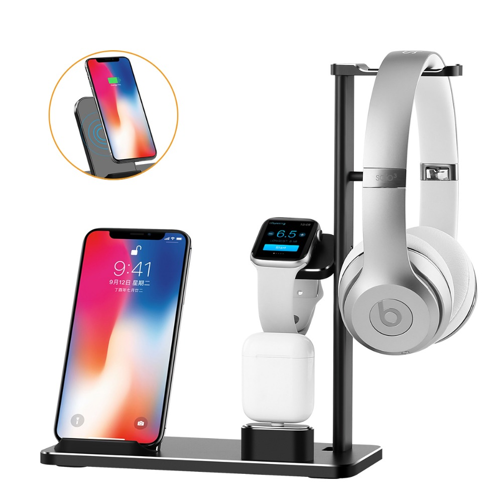 XUNMEJ 4 in 1 Cell Phone Stand Replacement for Apple Watch Charging Dock Station Headphones Holder