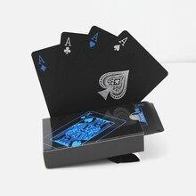 poker waterproof plastic pvc playing cards set pure color black poker card sets classic magic tricks tool