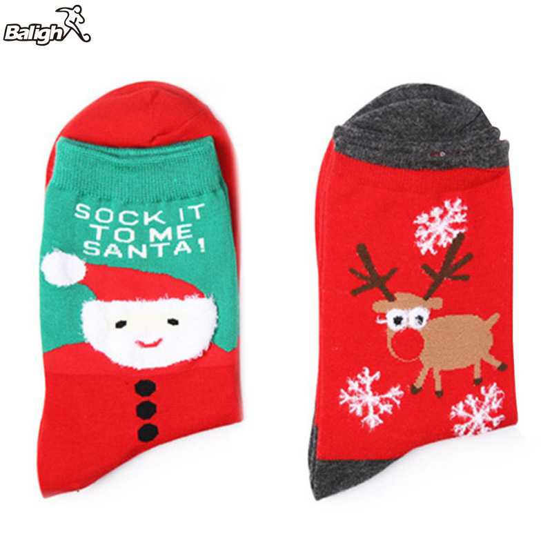 Balight Unisex Christmas Style Sports Socks Breathable Cotton Bottom Socks for Cycling Climbing Camping Hiking Running Sport