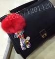 Кристалл меха кролика ручной олень брелки сумка шарм брелки кольцо сувенир женщин сумки ювелирные изделия
