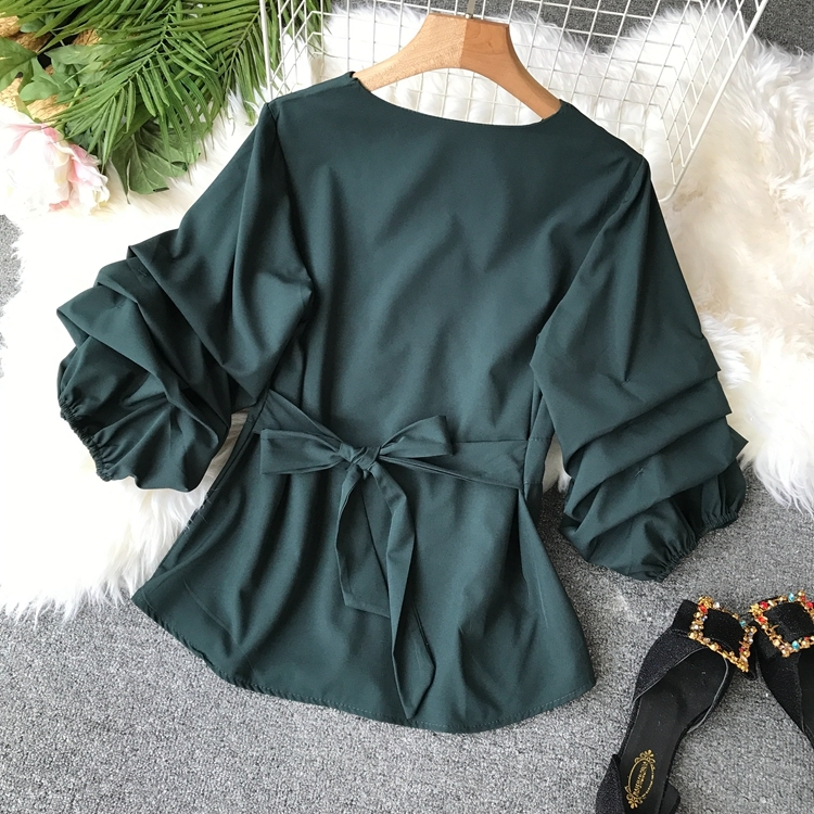 2109 Spring Women V-neck Puff Sleeves Blouse Slim Tunic Tops Retro Vintage Pullovers Busos Para Mujer Kimonos 105