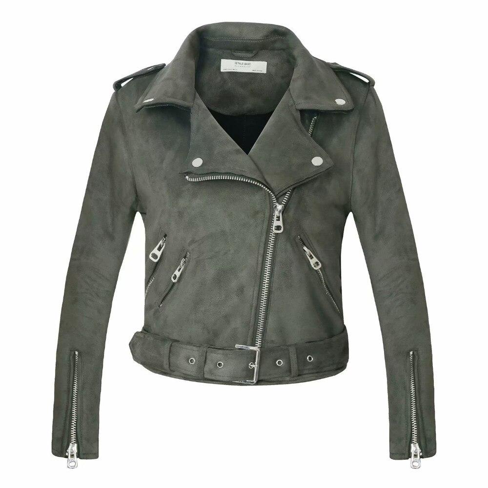 2018 Nouveau Arrial Femmes Automne Hiver Faux Suède En Cuir Vestes Lady Mode Mat Moto Manteau Biker Gris Rose Beige Outwear - 3