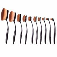 10PCS Face Oval Makeup Brush Foundation BB Cream Flawless Base Powder Puff Blusher Cosmetic Toothbrush Shaped
