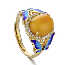 925 Sterling Golden Ring Yellow Stone For Women S925 Vintage Rings Party Fashion Jewelry Gift