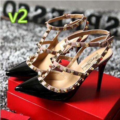 Бренд v черный, Розовый Красный открытые туфли-лодочки острый носок с Т-образным ремешком на шпильках обувь с шипами Для женщин на высоком ка...
