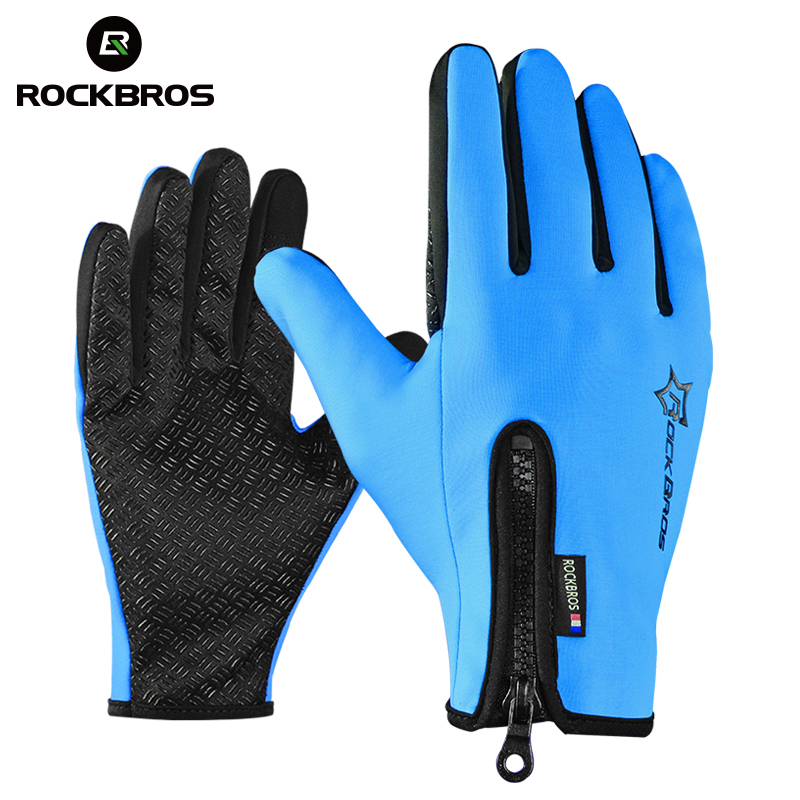 ROCKBROS Anti-slip Snowboard Ski Handschuhe Thermische Wasserdichte Touch Sreen Skifahren Handschuhe Schnee Winter Bike Radfahren Fahrrad Handschuhe Männer