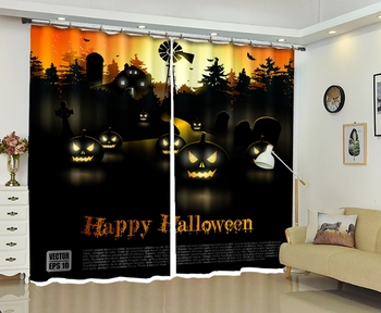 Halloween Printing Curtains for Halloween Day Blackout Living Room or Hotel Drapes Cortians 3D High-precision Shade Curtain