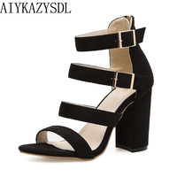 AIYKAZYSDL Gladiator Women Sandals Open Toe Fashion Shoes Woman Multi Strap Strappy Ankle Buckle Thick High