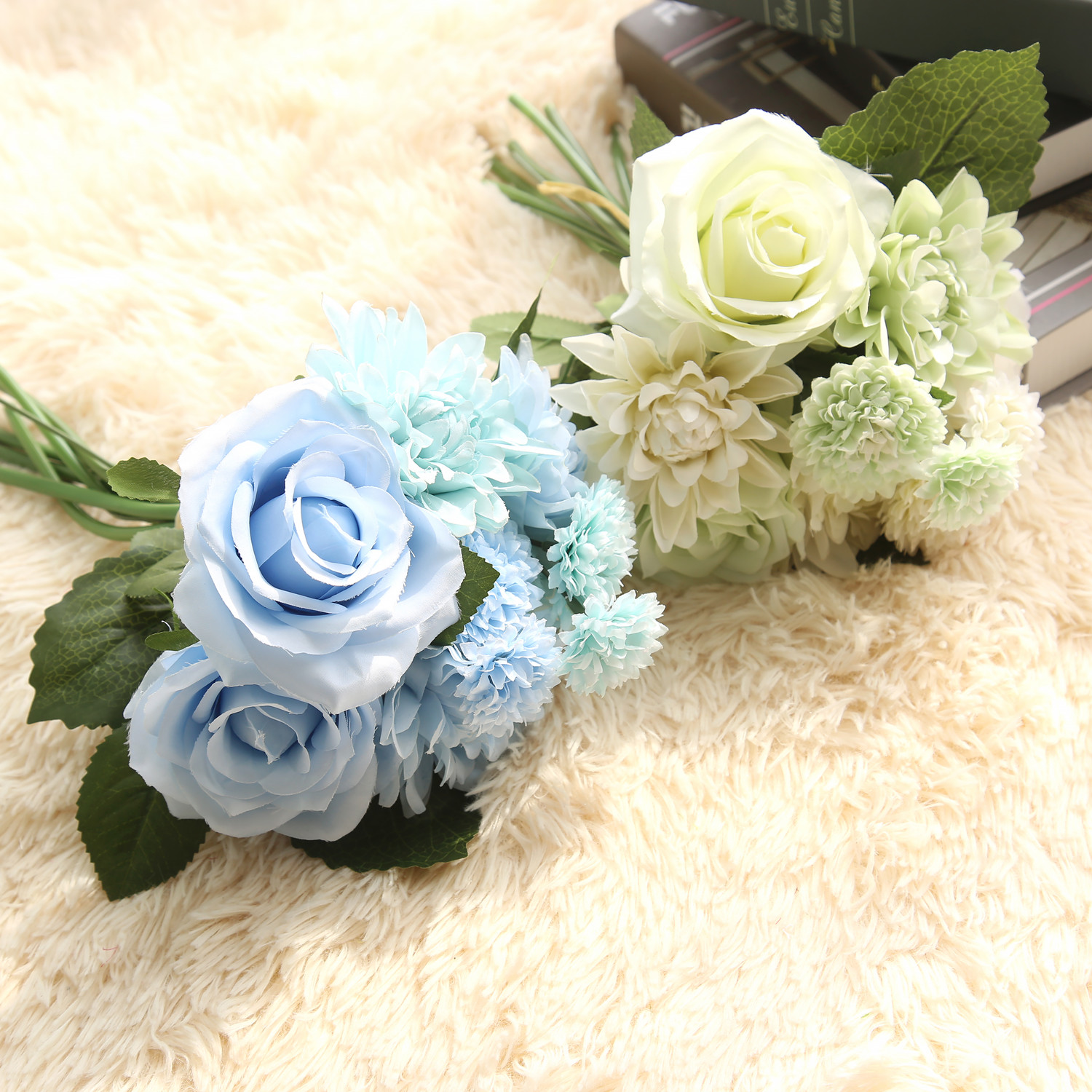 1 Bunsh Silk Artificial Flower Blue Dahlia Party Wedding Garden