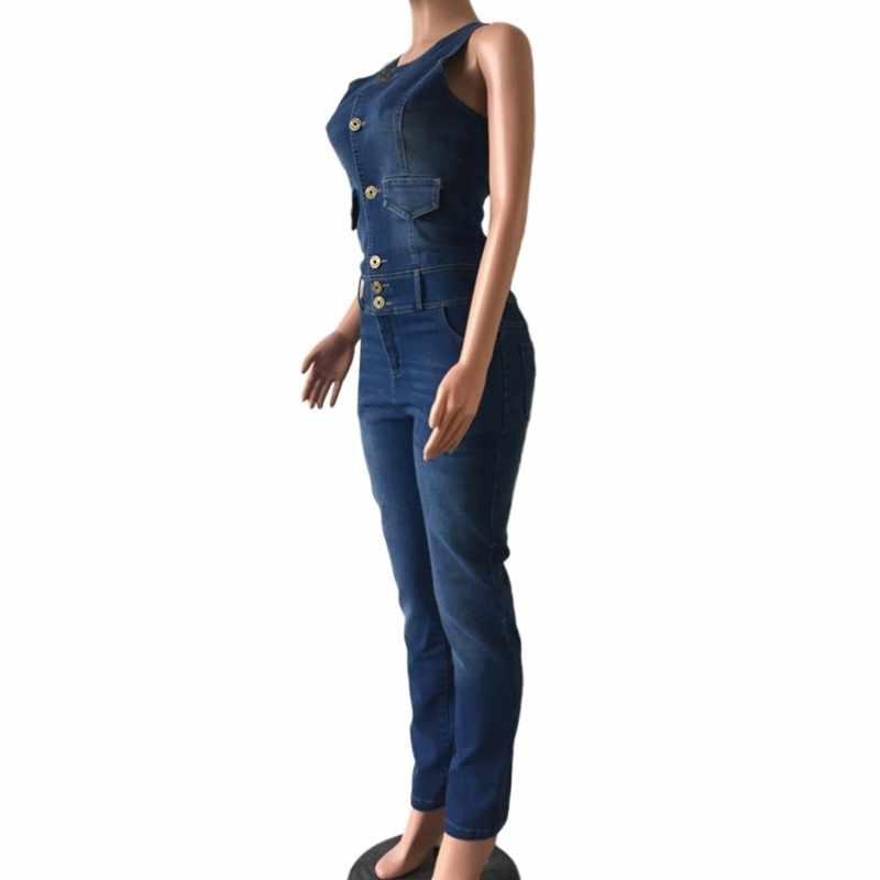 Новое поступление 2018 комбинезон без рукавов Джинсы для женщин сексуальное боди Для женщин Джинсовые комбинезоны Комбинезоны для малышек штаны для девочек Джинсы для женщин дамы