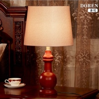 High End Country Europe Brief Original Wood Fabric Led E27 Table Lamp for Living Room Bedroom Study Decor H 52cm 1745
