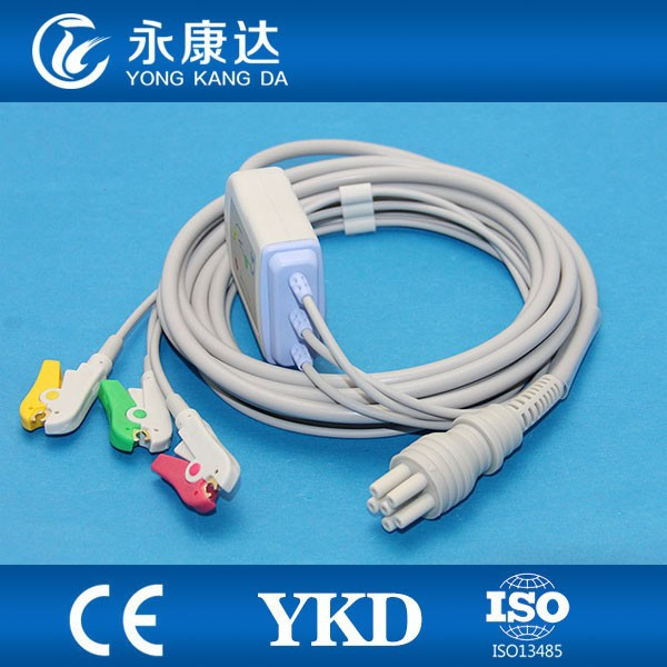3-lead ecg cable and lead wire,IEC,Clip,CE&ISO13485