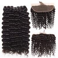 Deep Wave Human Hair 3 Bundles With Closure Brazilian Hair Weave Bundles With Closure ALIPOP Lace