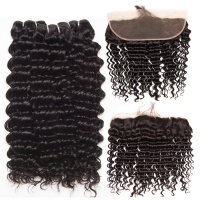 Deep Wave Human Hair 3 Bundles With Closure Brazilian Hair Weave Bundles With Closure ALIPOP Lace