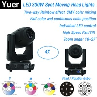 4 Units New LED Spot 330W Moving Head Gobo Lights DMX512 Moving Head Zoom Lights 3 Facet Prism CMY Color Mixing DMX Disco Light