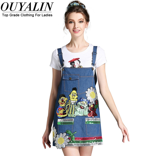 Ouyalin L 5xl Plus Size 2016 Denim Bib Overall Dress Pockets Sequins
