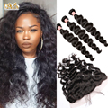 Lace Frontal Closure With Bundles Brazilian Virgin Hair With Closure Loose Curly 4 Pcs Brazilian Loose Wave With Frontal Closure