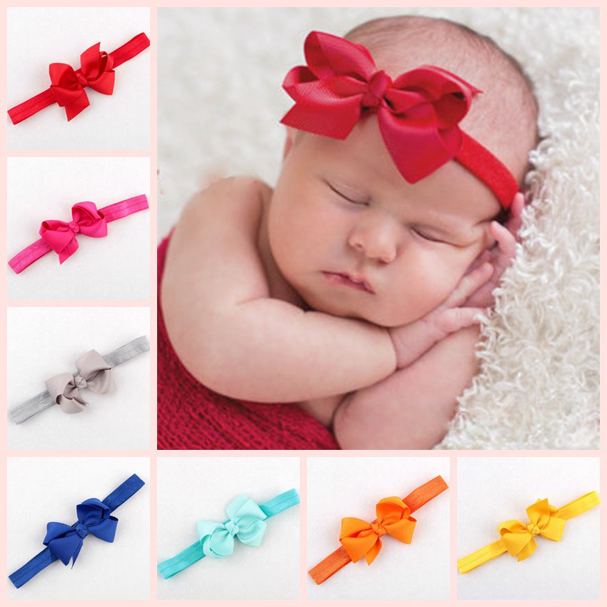 Newborn Bebe Girl Headband Bowknot Hair Band Kids Children Solid Ribbon Hair Bow Hair Accessories bandeau bebe fille 20 Colors headband baby girl hair bows newborn elastic hair band kids cute children hair accessories ribbon head band with dot 2pcs set