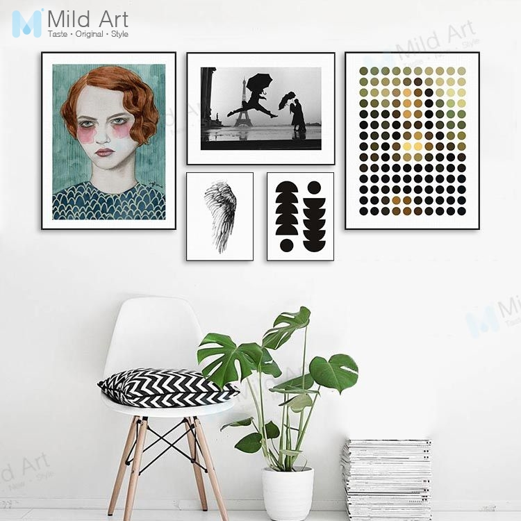 Modern Abstract Girls Eiffel Tower Circle Wing Poster Prints Nordic Style Living Room Wall Art Picture Home Deco Canvas Painting