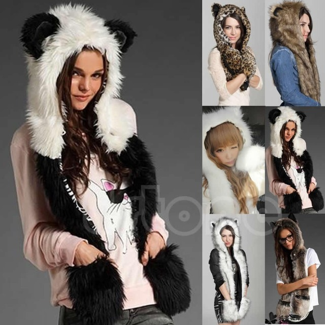 Winter Faux Fur Hood Animal Hoods Hat Cap Cartoon Plush Hats With Scarf Paws Sets Warm Caps Beanies Cartoon Panda Wolf Hat