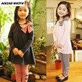 2017 Spring Autumn Girls Clothing Set Children Clothes 2PCS Cotton Long Sleeve Bow Tops + Striped Pant Leggings Sets