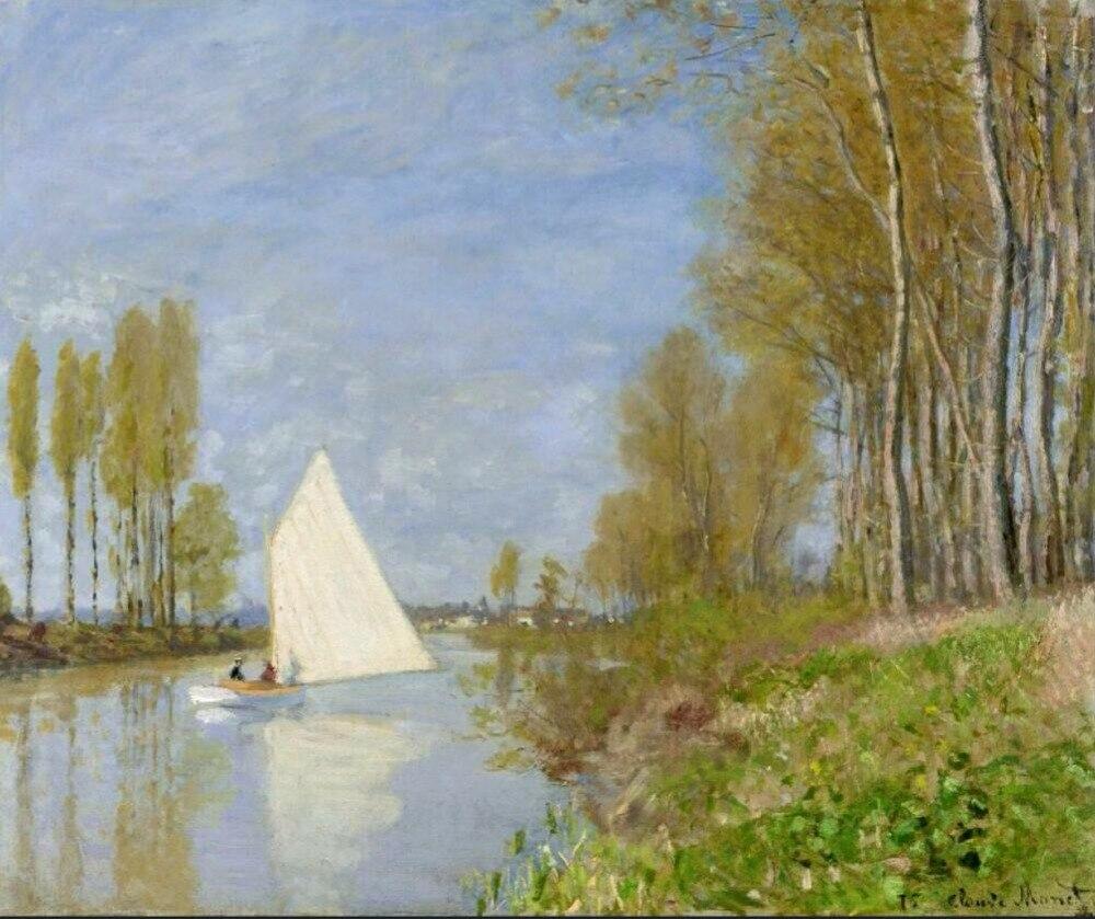 Haute qualité peinture à l'huile toile Reproductions petit bateau sur la petite branche de la Seine par Claude Monet peinture peinte à la main