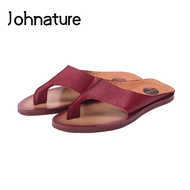 Johnature 2019 Summer New Genuine Leather Casual Sheepskin Outside Slippers Flat With Sewing Sandals Flip Flops