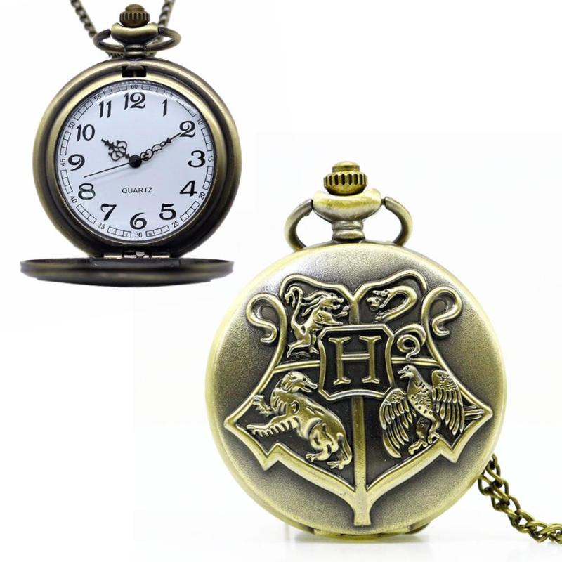 1pc Retro Shield Harry Potter Hogwarts School Witchcraft Bronze Pocket fob Watches Men Women Children Watches Necklace Relogio 1 box harry potter candy 1 6 oz 1 bean boozled 1 2oz