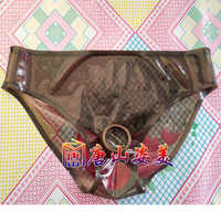 Transparent Sexy Black Latex Brifes Open Crotch Hole Ring Hole with anus condom customized