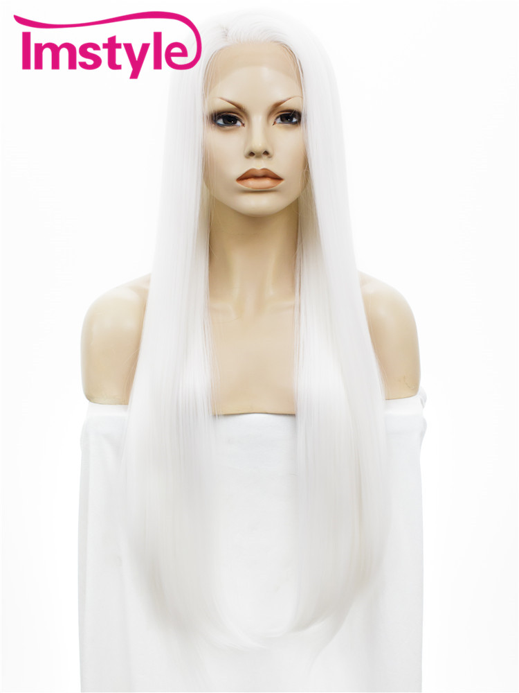 Imstyle Straight Synthetic Pure White 30 inches lace front wig