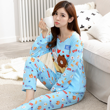 2017 Women Pajama Set Thin Cartoon Autumn Girlfriend Gift Indoor Cloth Home Suit Sleepwear Long Sleeve Female Pyjamas Sets