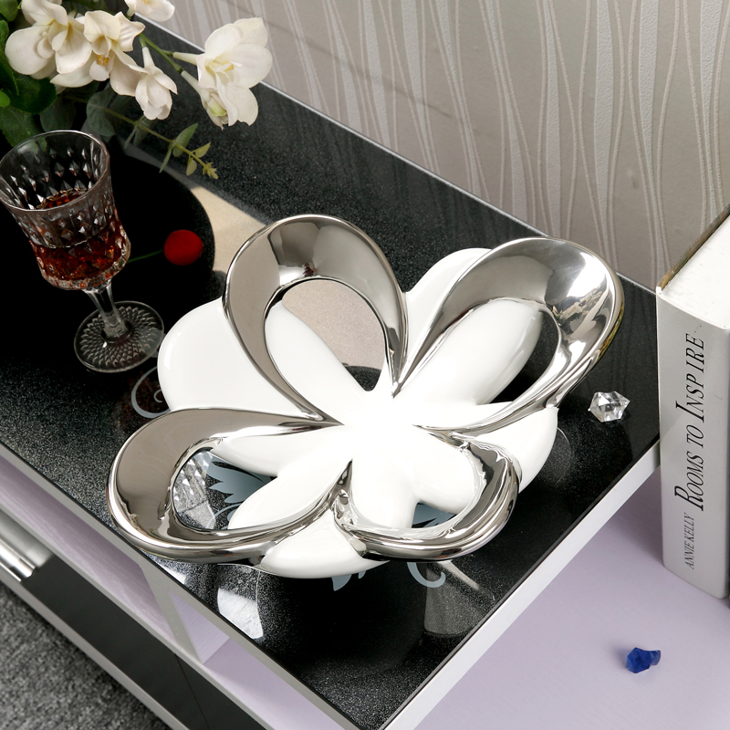 FLower Shaped Ceramic Fruit Plate Decorative Porcelain Serving Tray Dinnerware Ornament Handicraft for Parlor and Dining Table-in Dishes u0026 Plates from Home ... & FLower Shaped Ceramic Fruit Plate Decorative Porcelain Serving Tray ...