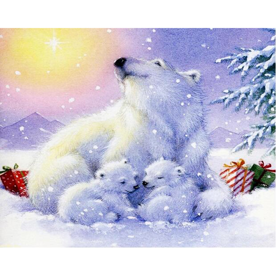 item decoration bear painting mosaic landscape diamond gift lights arctic baby home nice cross and the in polar bears embroidery