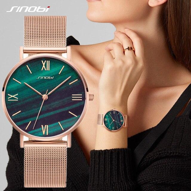 SINOBI basit kadın bilek saatler altın kordonlu saat takvim en lüks marka kristal kuvars saat bayanlar kol saati reloj mujer
