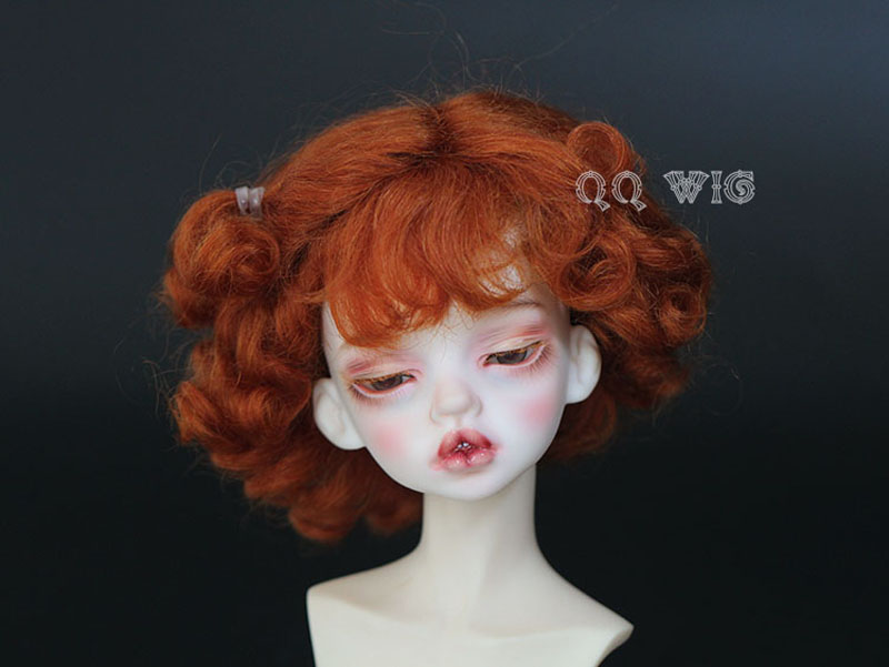 Free Shipping 1/8 BJD Wig Super Doll Wig Fashion Beautiful Short Curly Mohair For BJD Doll Hair 25cm 100cm doll wigs hair refires bjd hair black gold brown green straight wig thick hair for 1 3 1 4 bjd diy