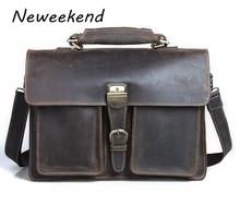 NEWEEKEND 7164 Retro Genuine Leather Crazy Horse Multi-Pocket Cowhide Crossbody Shoulder Handbag Briefcases laptop Bag for Man