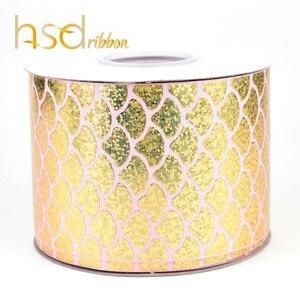 Image 3 - HSDRibbon 75MM 3 pulgadas escalas clásicas patrón holograma Arco Iris hoja de oro cinta de grosgrain estampada