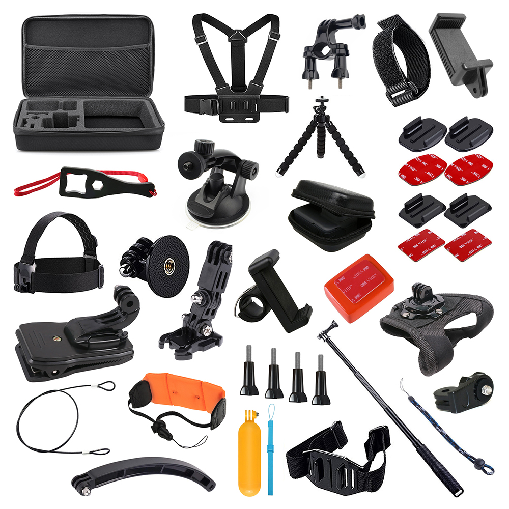 Para GoPro conjunto de accesorios para Go Pro Hero 7 6 5 4 3 kit trípode Selfie Stick adaptador de montaje para xiaomi Yi 4K Lite SJCAM SJ7 Eken H9