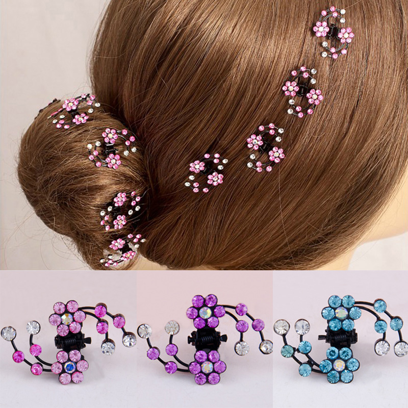 6 PcsSet Rhinestone Flower Hair Clips Clamp Women Lady Hair Claws Bridal Jewelry Hair Accessories Barrettes Hairpin