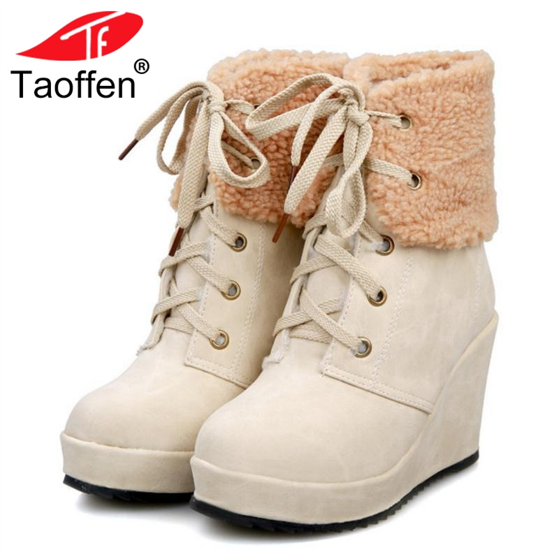 TAOFFEN Women Warm Wedge Boots Winter Plush Fur Shoes Woman Lace Up Ankle Boots Fashion Round Toe Platform Shoes Size 34-39 best selling top quality women hidden wedge winter warm snow boots plush inside platform round toe motorcycle boots shoes